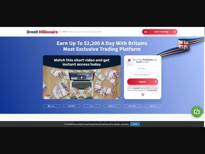 Brexit Millionaire - $250 min CTC - VSL - Biz Opp - SS - [50 GEOs]