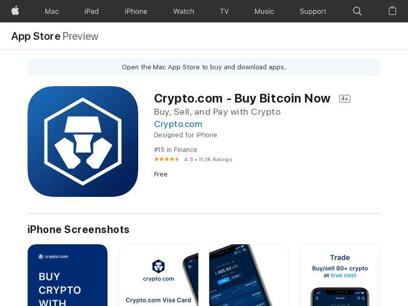 Crypto.com - Buy Bitcoin Now iOS