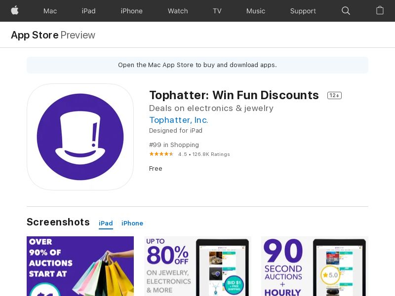 Tophatter: Win Fun Discounts - US, UK, FR, ES, DE - iOS - CPE - converts on first purchase
