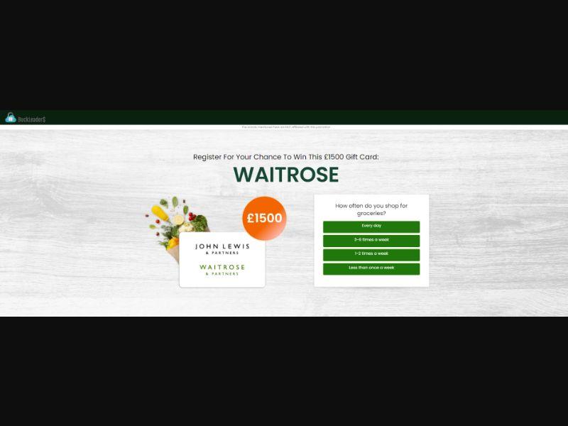 UK - Win Waitrose Gift Card [GB] - SOI registration