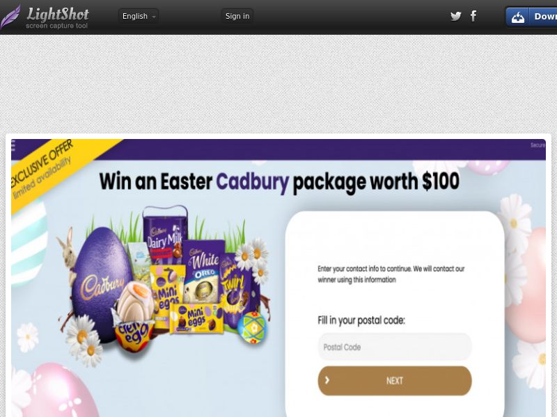 Yousweeps - Win Cadbury Easter Package (US) (CPL) (Personal Approval)