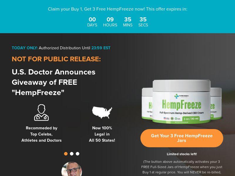 HempFreeze CBD Cream - Buy 1 Get 3 Free [US] (Email,Native,Social,Search,SEO,PPC) - CPA
