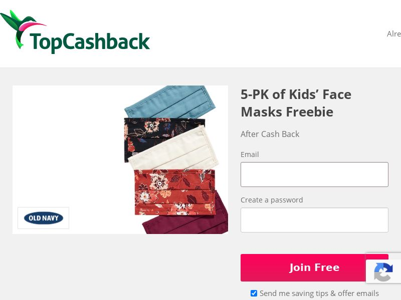 TopCashback - Free 5 Piece Kids Facemask Set from Old Navy US & CA