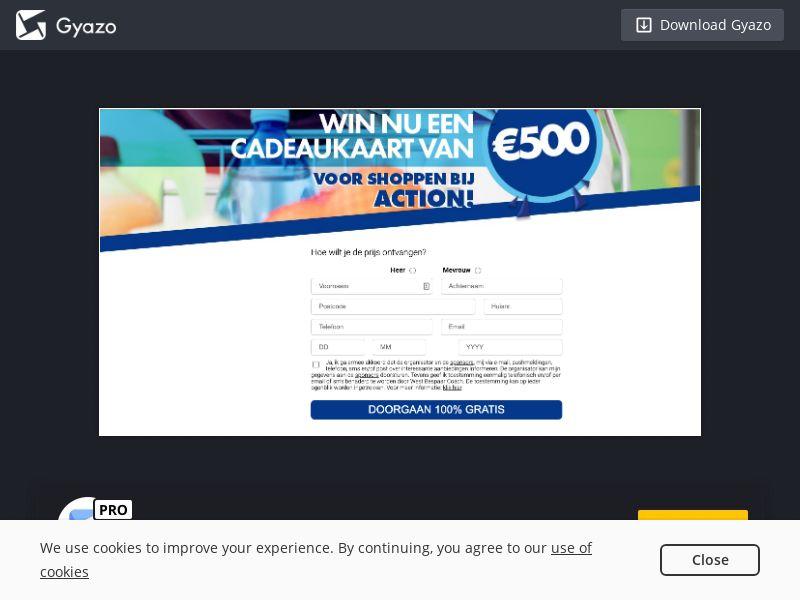 3011 500 Euro Gift Voucher Sweepstake NL