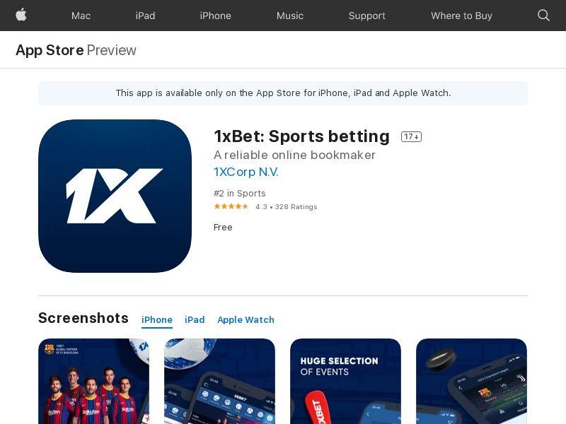 UA-iOS-1xBet: Sports betting(Install)(Direct) 1146563