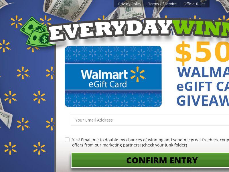 Every Day Winner - $500 Walmart eGift Card - US
