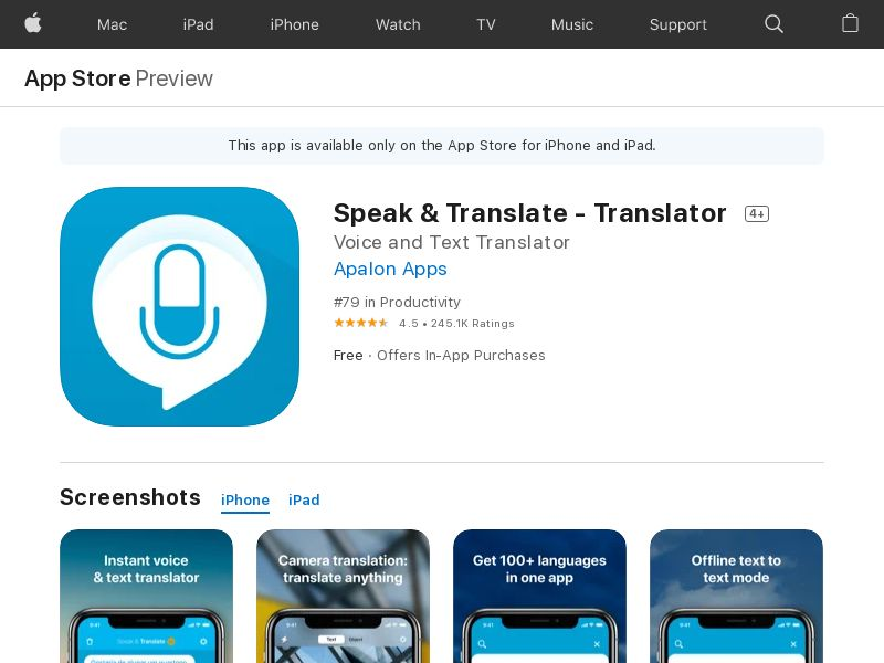 Speak & Translate iOS US IDFA
