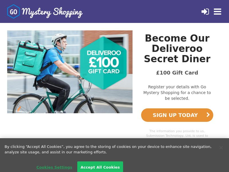 Go Mystery Shopping - Receive £100 to become a Deliveroo Secret Diner CPL [UK]