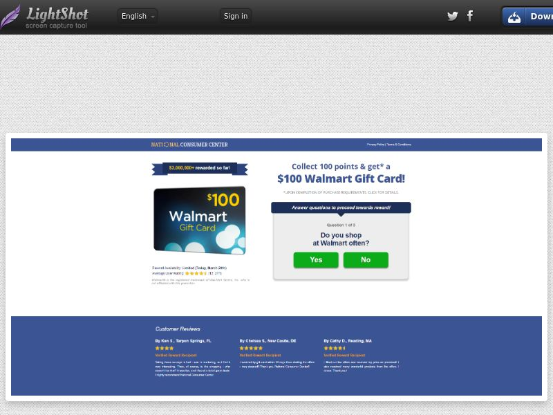 NCC - Win a $100 Walmart Gift Card (SOI) - Old Version - Sweepstakes/Gift Card - US * PENDING * Private Offer *