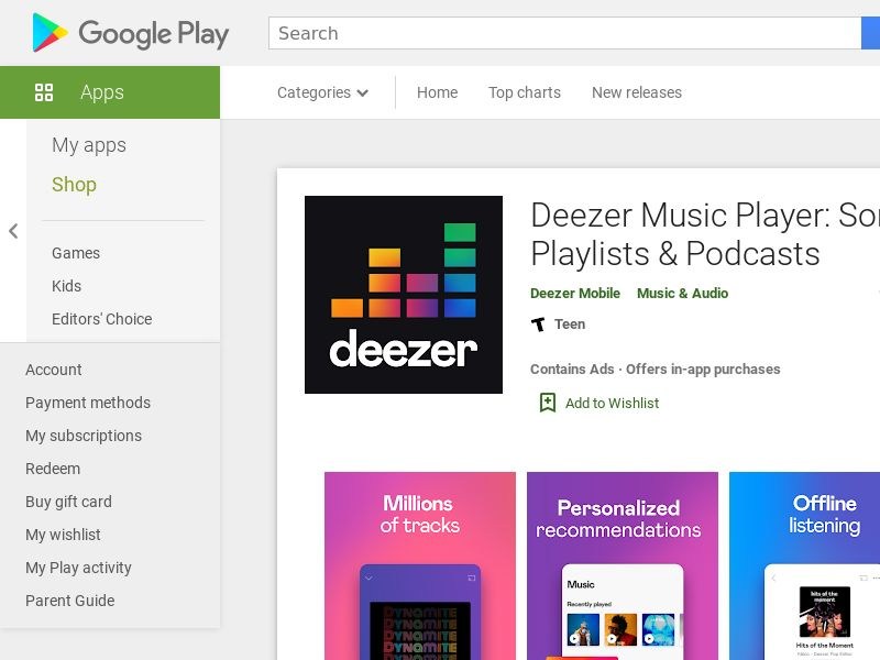 Deezer Music Player - Android - Incent