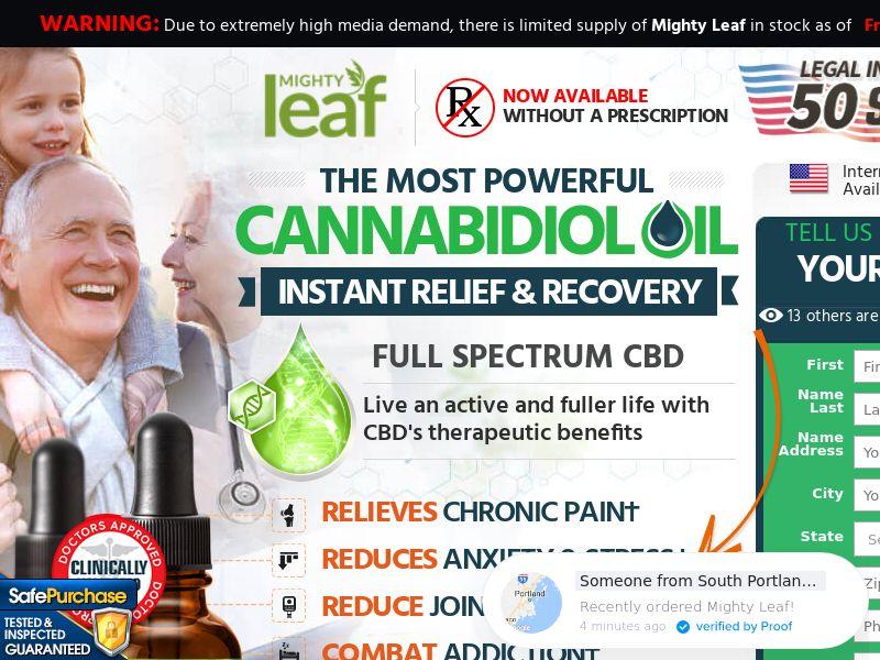 US - Mighty Leaf CBD Oil - Trial - CPA - *WEB/WAP* + upsell