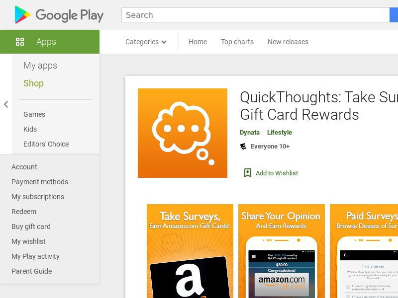 QuickThoughts: Earn Gift Card Rewards - Android (US) (KPI) (Incent) (Personal Approval)