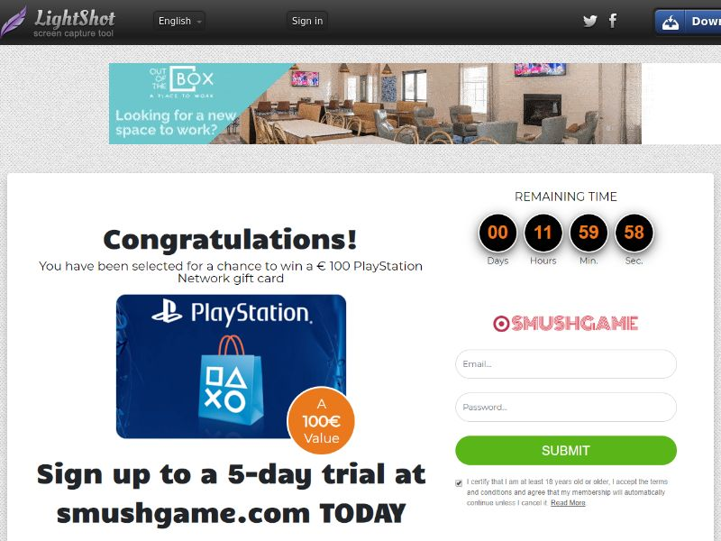 Sugar Beats PlayStation Network Gift Card (Sweepstake) (CC Trial) - Netherlands